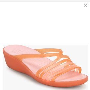Crocs Mini Isabella Orange Multi Strap Wedge Shoes